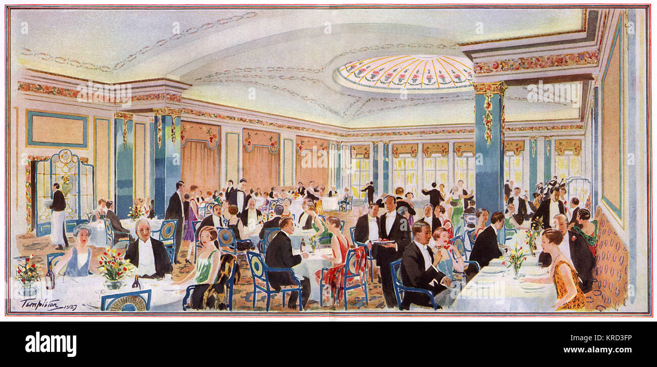 The restaurant of the newly-opened May Fair hotel in Stratton Street, Mayfair, London showing people seated at tables - Stock Image
