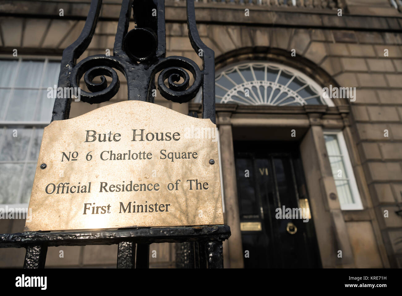 Detail of nameplate at Bute House, official residence of The First Minister of Scotland in Charlotte Square , Edinburgh, - Stock Image
