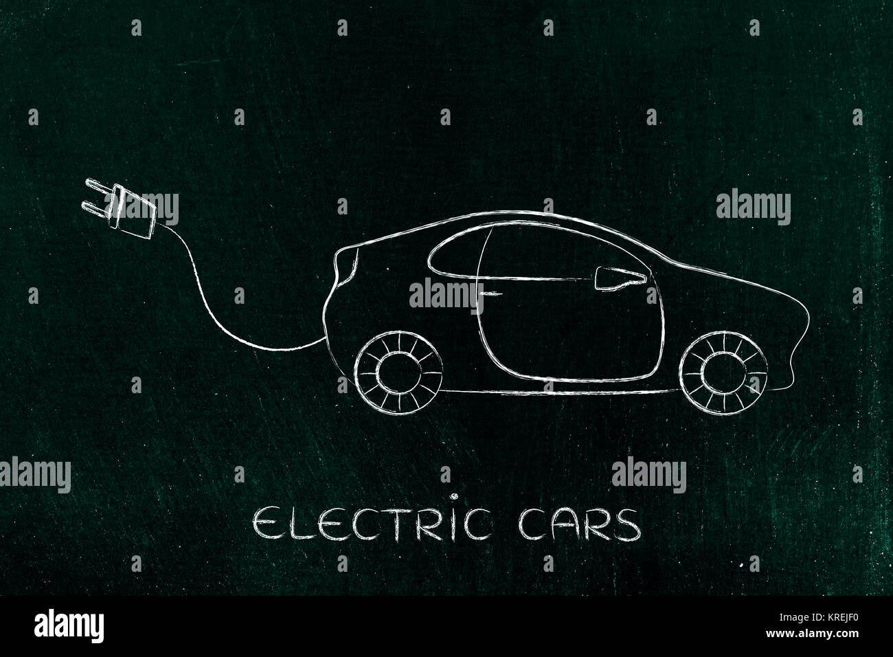 electric and hybrid cars: vehicle with big funny plug - Stock Image