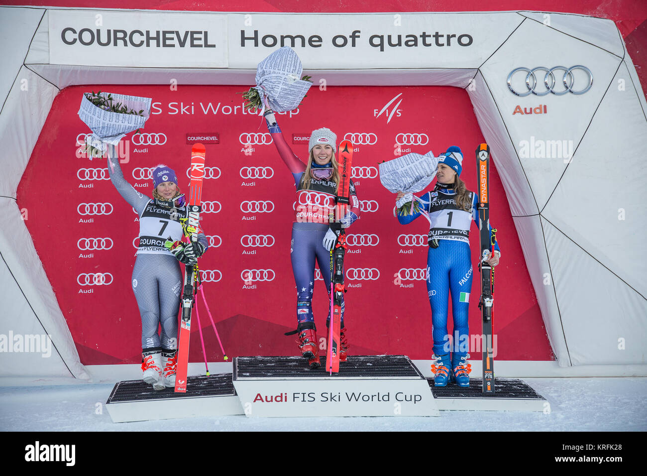 19th December 2017, Courchevel, France - Podium presentation of the women's giant slalom with 1) Mikaela Shiffrin - Stock Image