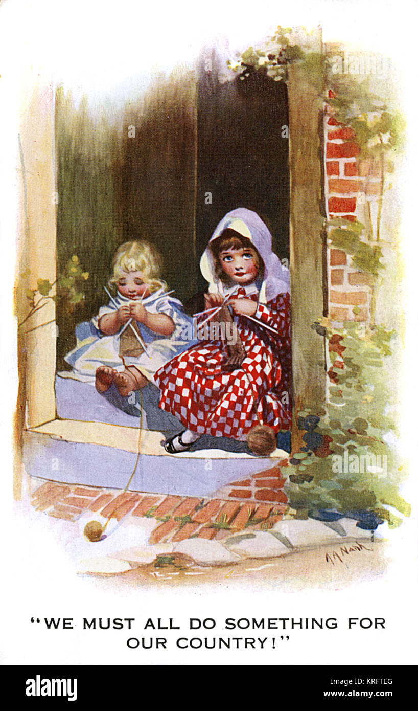 'We Must All Do Something for Our Country!'  Two children sit on a doorstep knitting comforts for soldiers - Stock Image