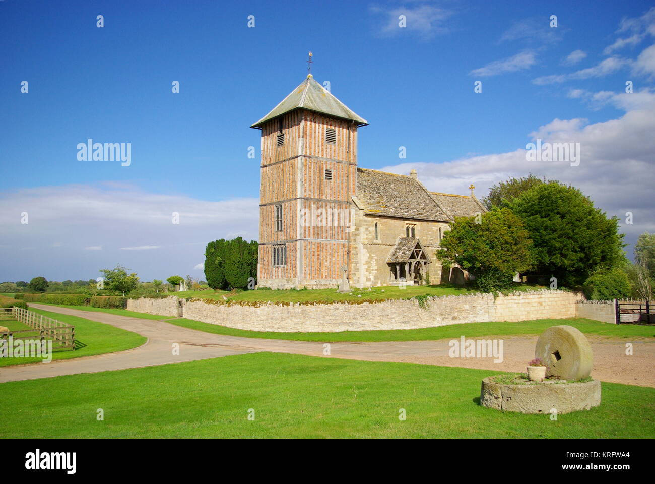 Parish church of St Mary the Virgin, a Grade I listed building in the village of Upleadon, Gloucestershire, dating - Stock Image