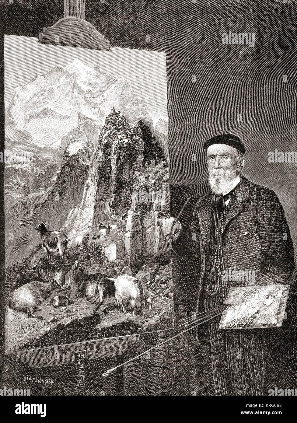 Thomas Sidney Cooper, 1803 – 1902.  English landscape painter.  From The Strand Magazine, published January to June - Stock Image