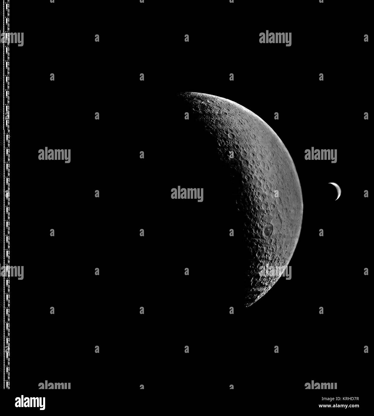 Lunar Orbiter 4 image of Moon with Earth Stock Photo