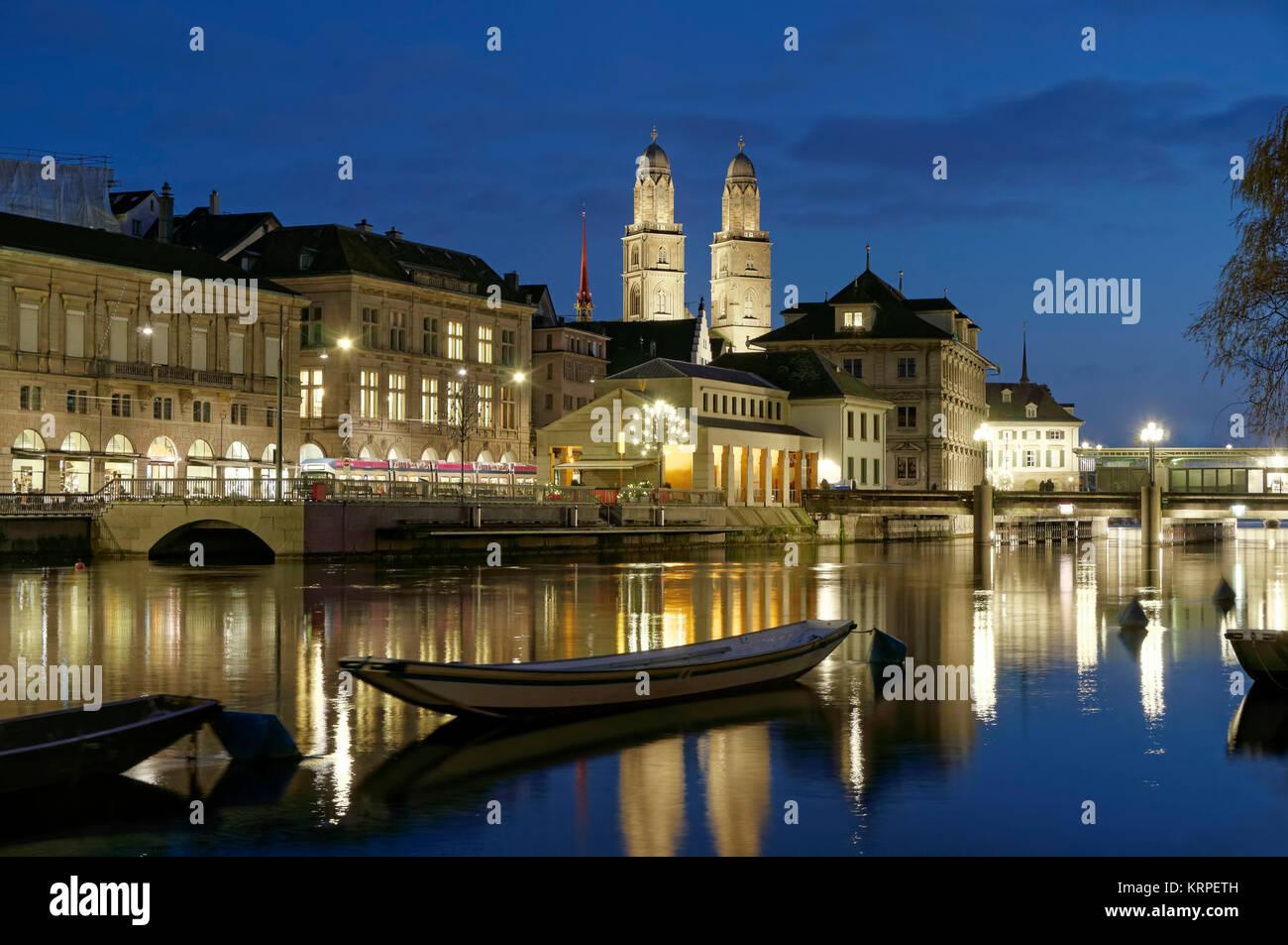 River Limmat, Grossmunster, Zurich, Switzerland - Stock Image