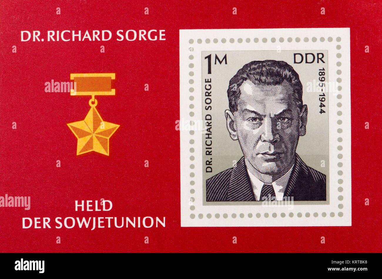 East German (DDR) postage stamp (1976) on a mini sheet: Richard Sorge (1895 – 1944) Soviet military intelligence Stock Photo