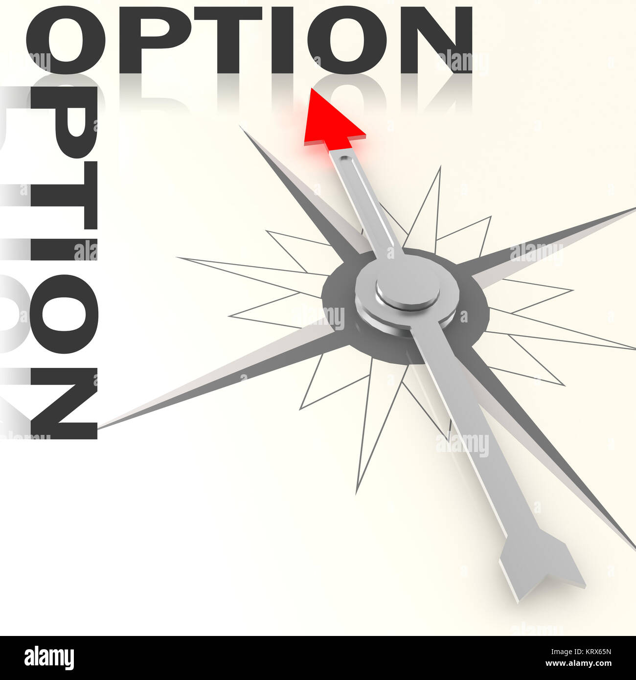 Compass with option word isolated - Stock Image