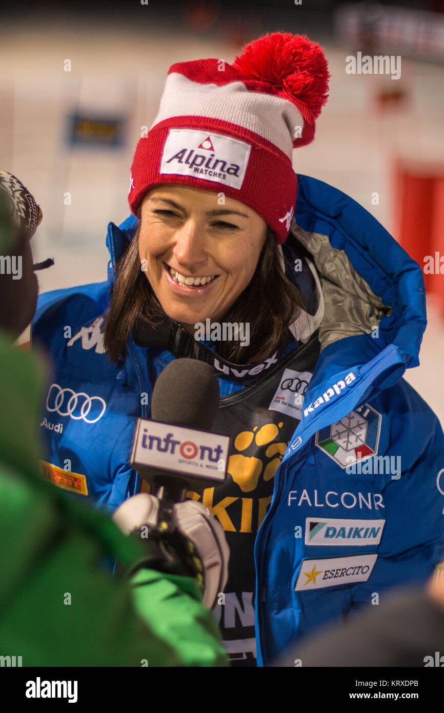 Courchevel, France. 20th Dec, 2017. Irene Curtoni of Italy 3rd place at the Parallel Slalom of Courchevel Ladies - Stock Image