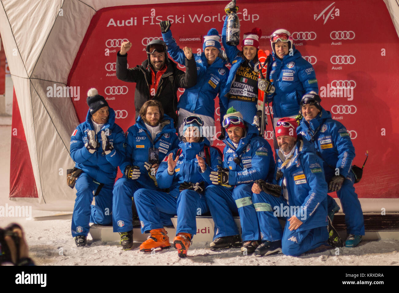 Italian Ski Team happy after the great podium results from Irene Curtoni and Manuela Moelgg in Courchevel Giant - Stock Image
