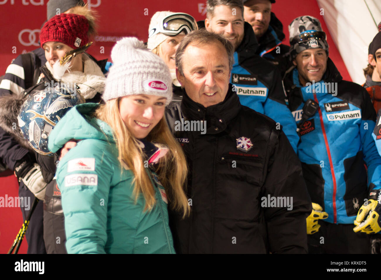 Courchevel, France. 20th Dec, 2017. Mikaela Shiffrin with Philippe Mugnier, maire of Courchevel, taken after her - Stock Image