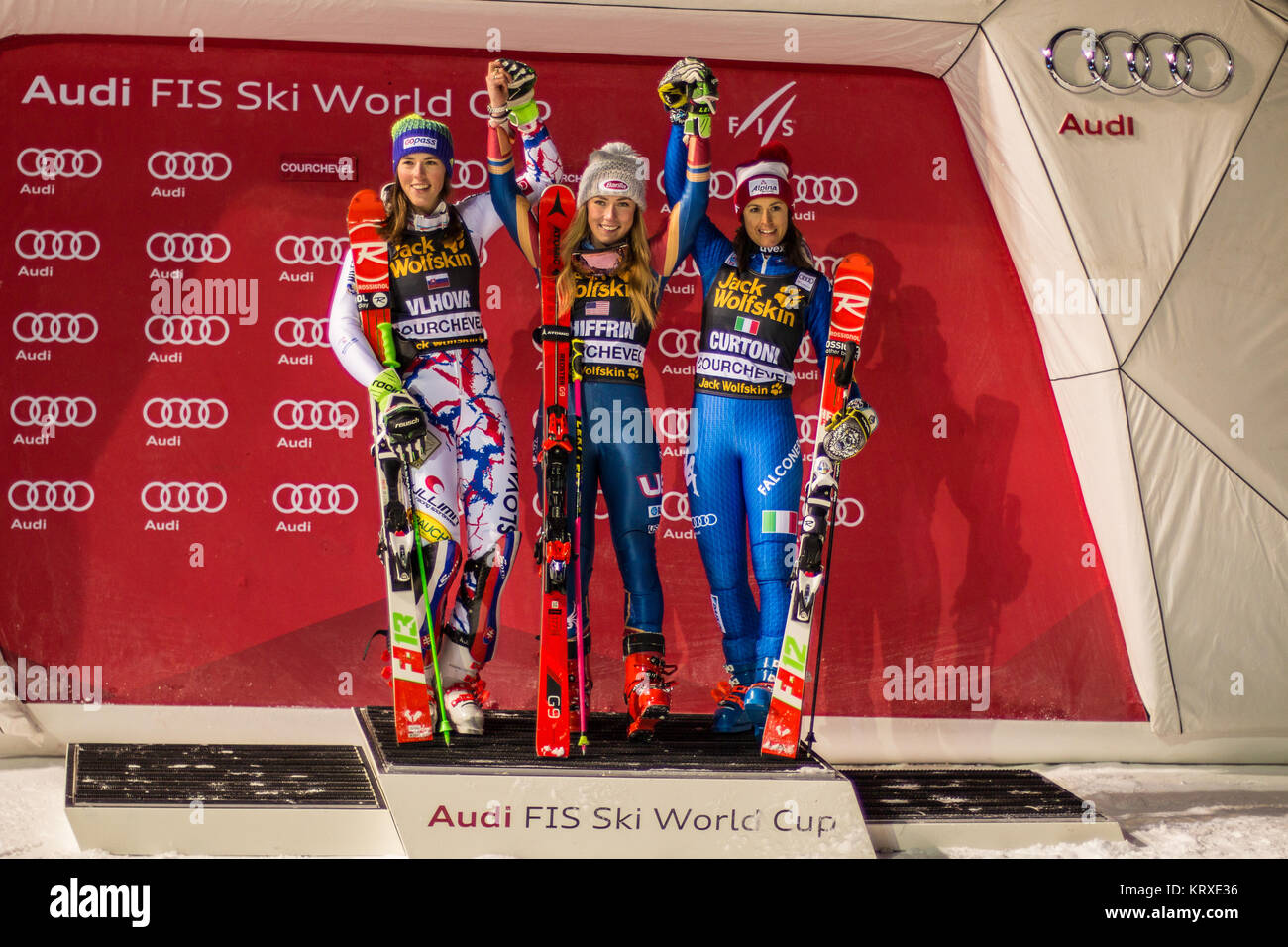 Courchevel, France. 20th Dec, 2017. Podium Presentation with the winner Mikaela Shiffrin of USA, Petra Vlhova of - Stock Image