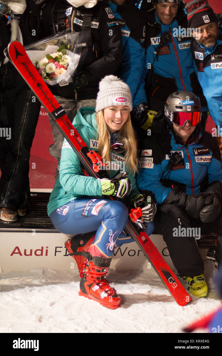 Courchevel, France. 20th Dec, 2017. Mikaela Shiffrin of Usa winner of the  Parallel Slalom of Courchevel Ladies - Stock Image