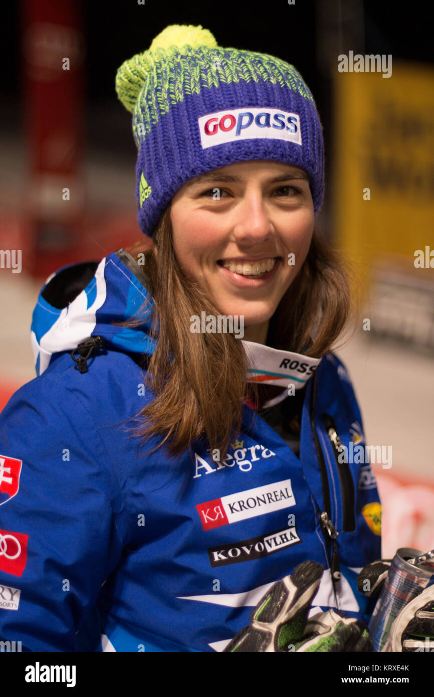 Courchevel, France. 20th Dec, 2017. Petra Vlhova of Slovakia 2nd place at the Parallel Slalom of Courchevel Ladies - Stock Image