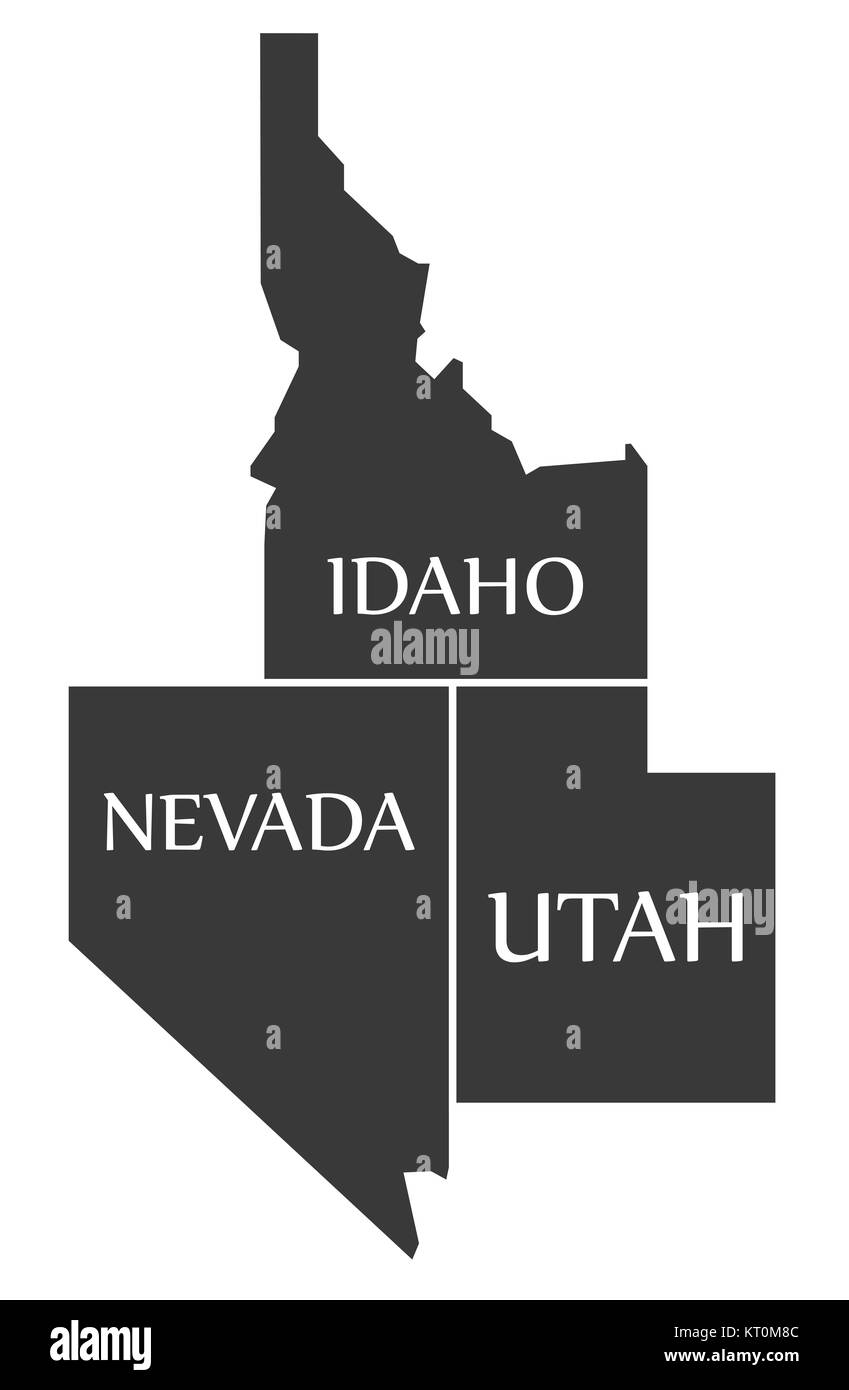 Utah And Idaho Map.Idaho Nevada Utah Map Labelled Black Stock Photo 169660972 Alamy
