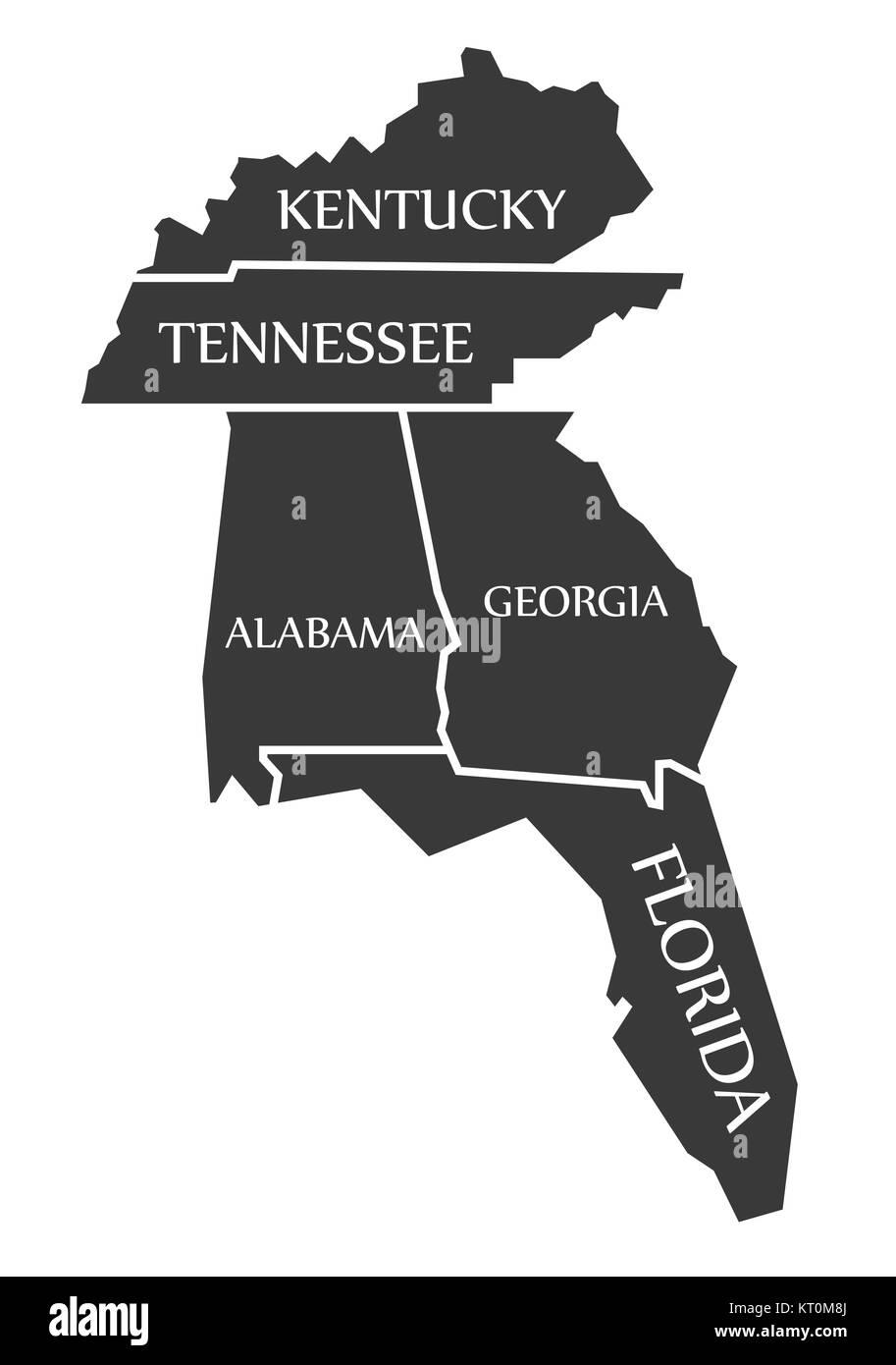 Map Of Alabama And Florida.Kentucky Tennessee Alabama Georgia Florida Map Labelled