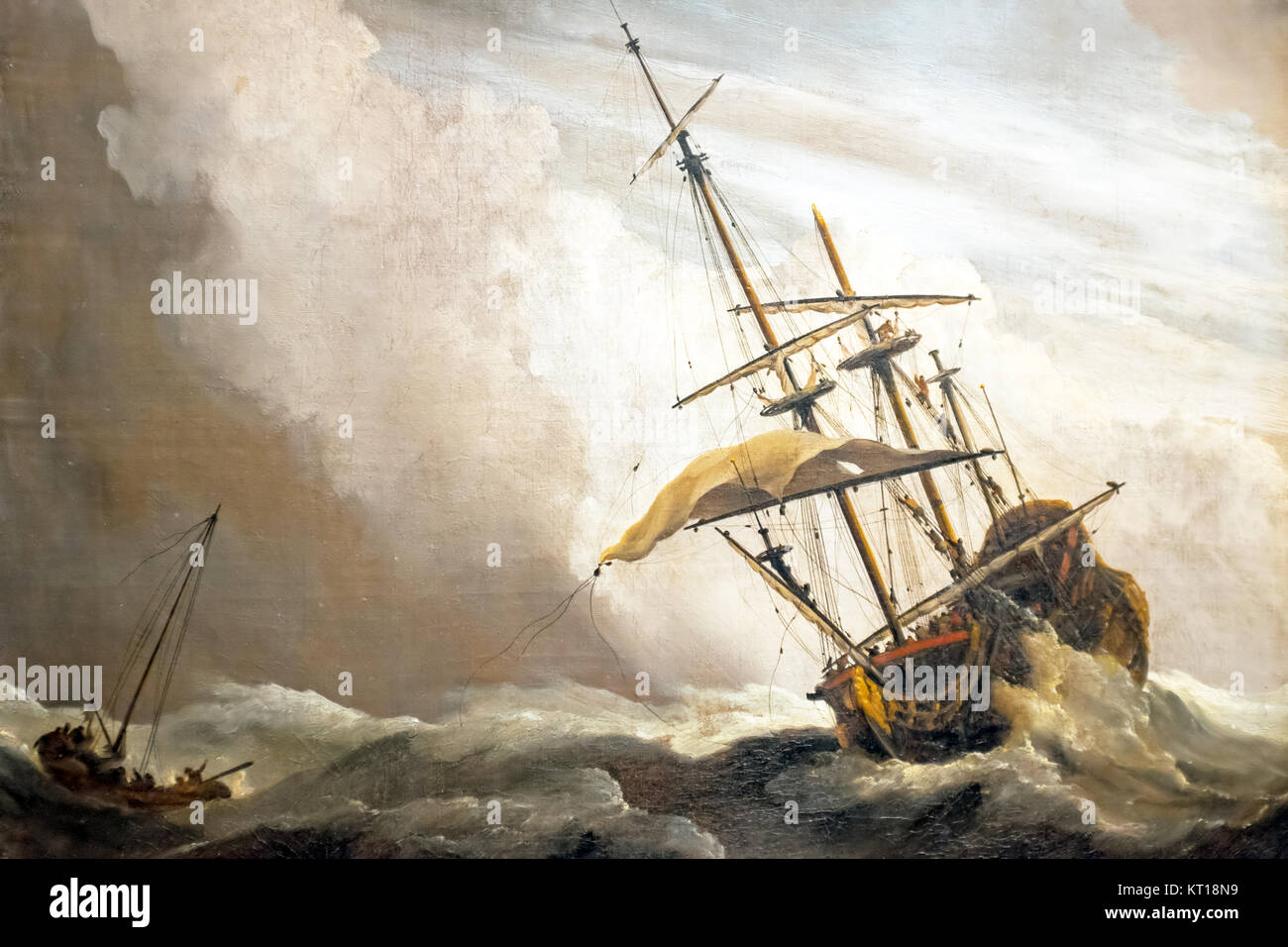 A Ship on the High Seas Caught by a Squall, Known as 'The Gust', Willem van de Velde (II), c. 1680 - Stock Image