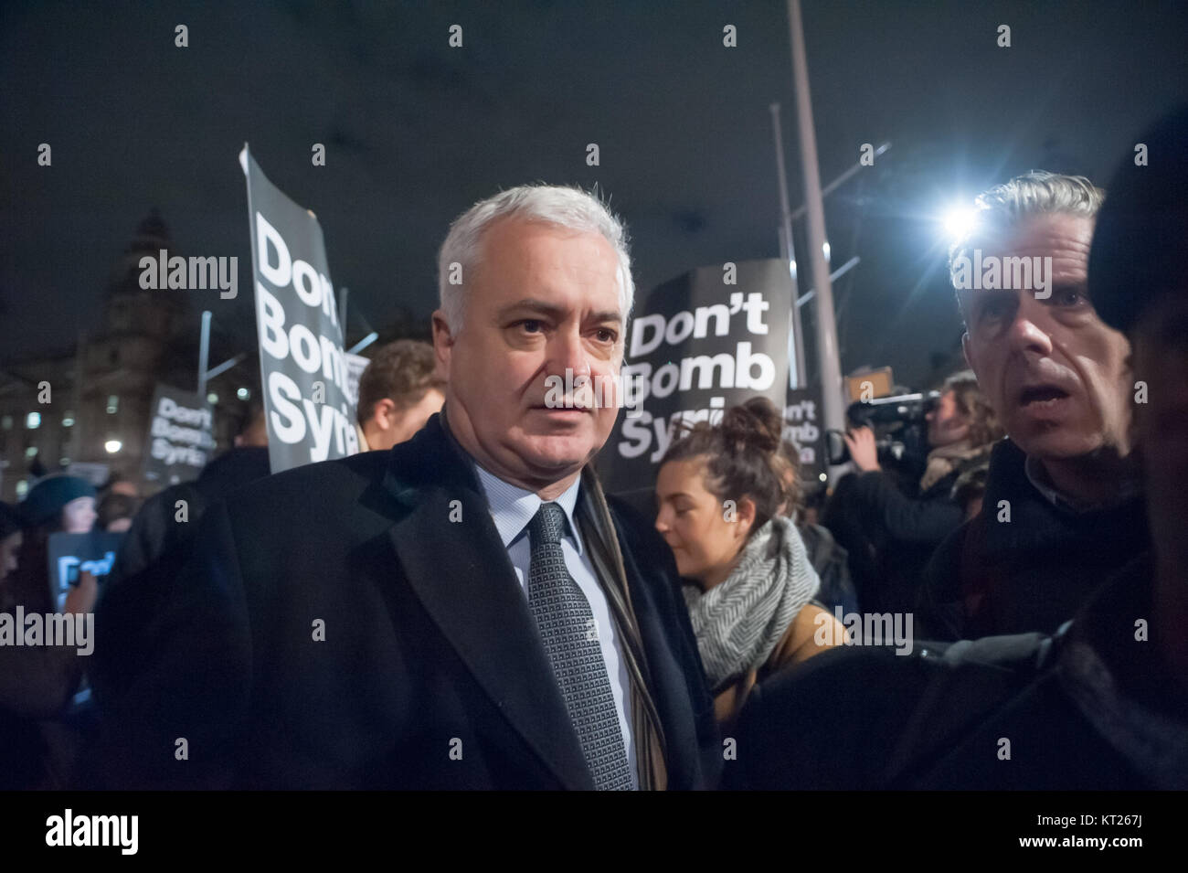Andrew Murray and Chris Nineham of Stop the War at the emergency Don't Bomb Syria protest by Stop the War on the Stock Photo