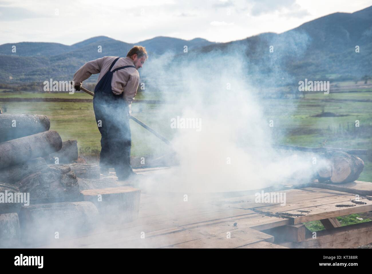 Traditional Charcoal production in rural Boljevac, Serbia - Stock Image