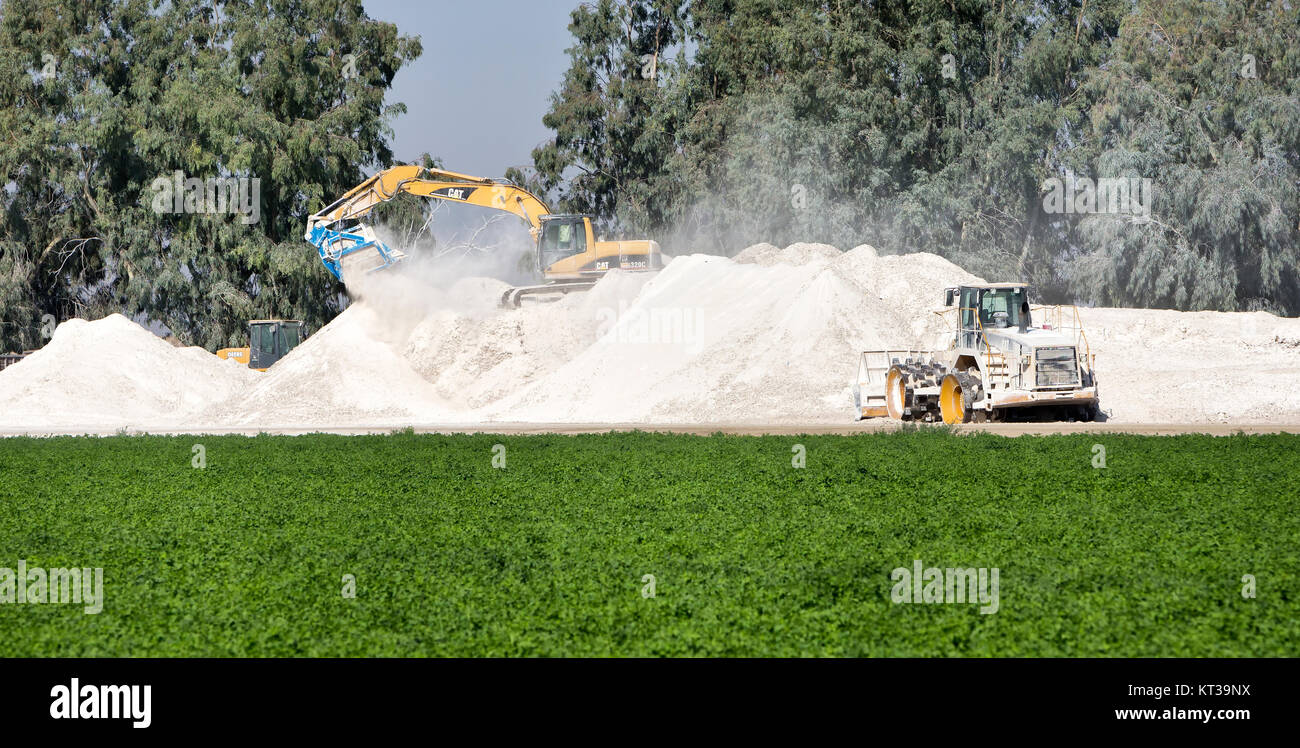Caterpillar 320C swinging boom, recycling used plasterboard (by fracturing & separating old paper material. - Stock Image
