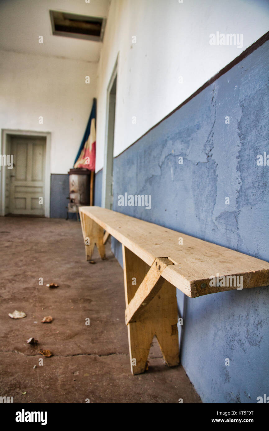 Aging rural communities such as Boljevac in Serbia - Empty school building - Stock Image