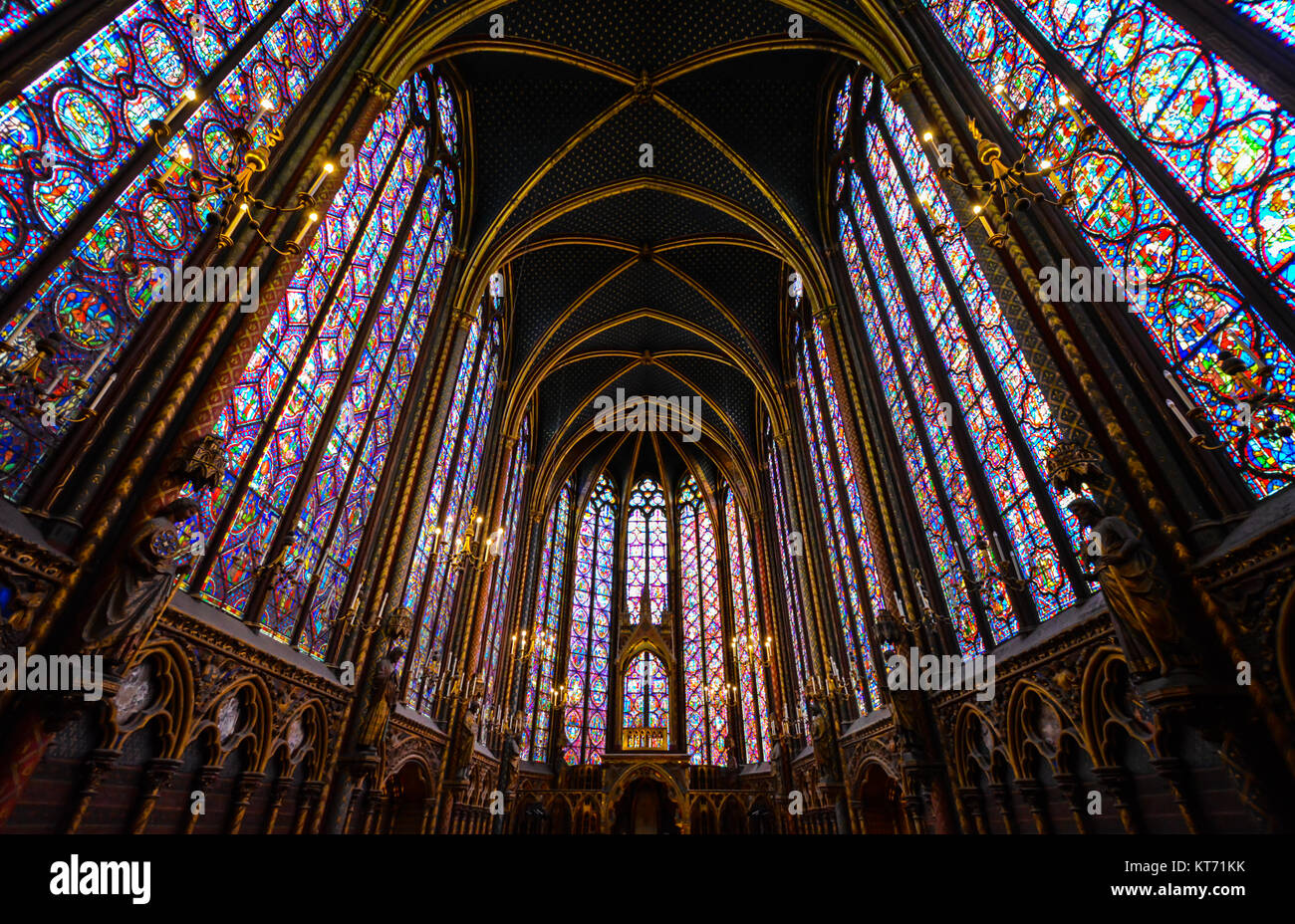 The Interior Upper Level Of Sainte Chapelle Gothic Royal Chapel On Ile De La Cite In Paris France Highlighting Its Stained Glass Windows