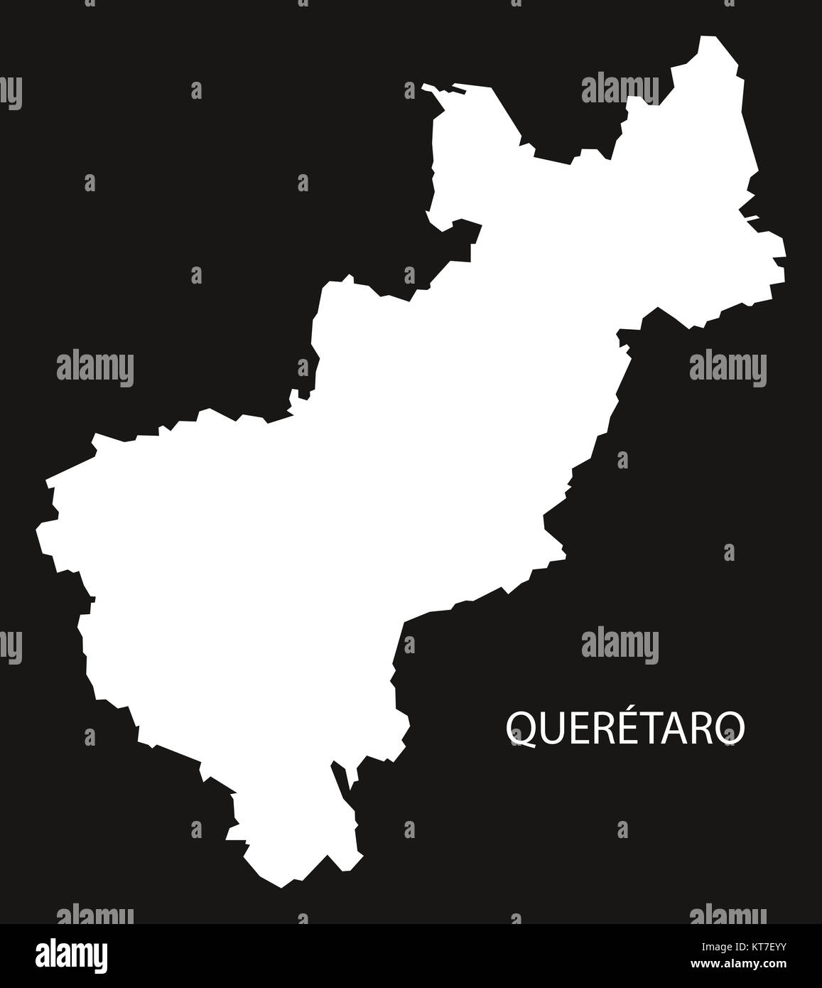 Queretaro Mexico Map black inverted silhouette Stock Photo