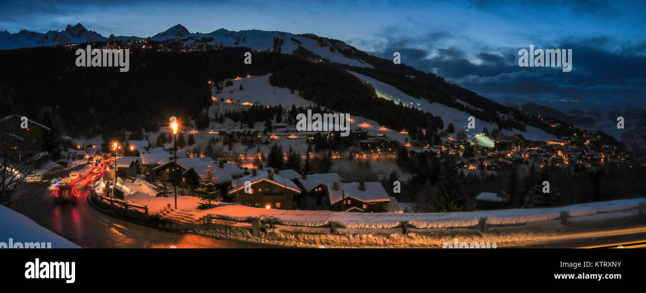 An evening in Courchevel ski resort in the French Alps part of the 3 valleys ski area of Savoie, Rhone Alpes, France - Stock Image