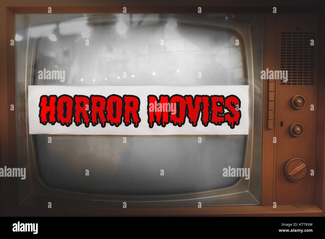 horror movies genre television label old tv text vintage retro - Stock Image