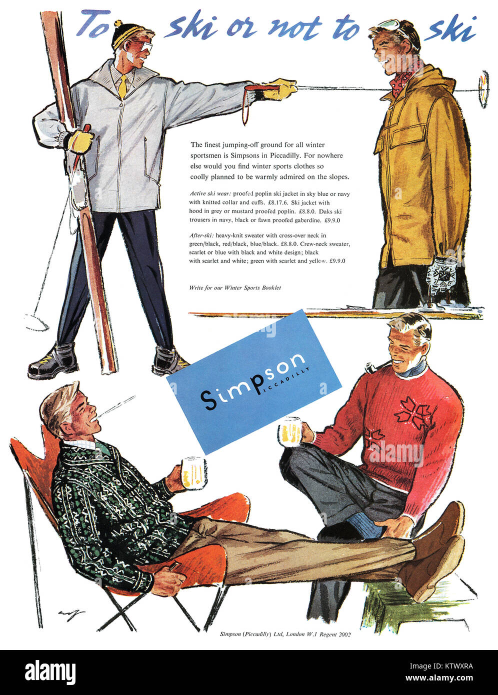 1954 British advertisement for Simpsons of Piccadilly. - Stock Image