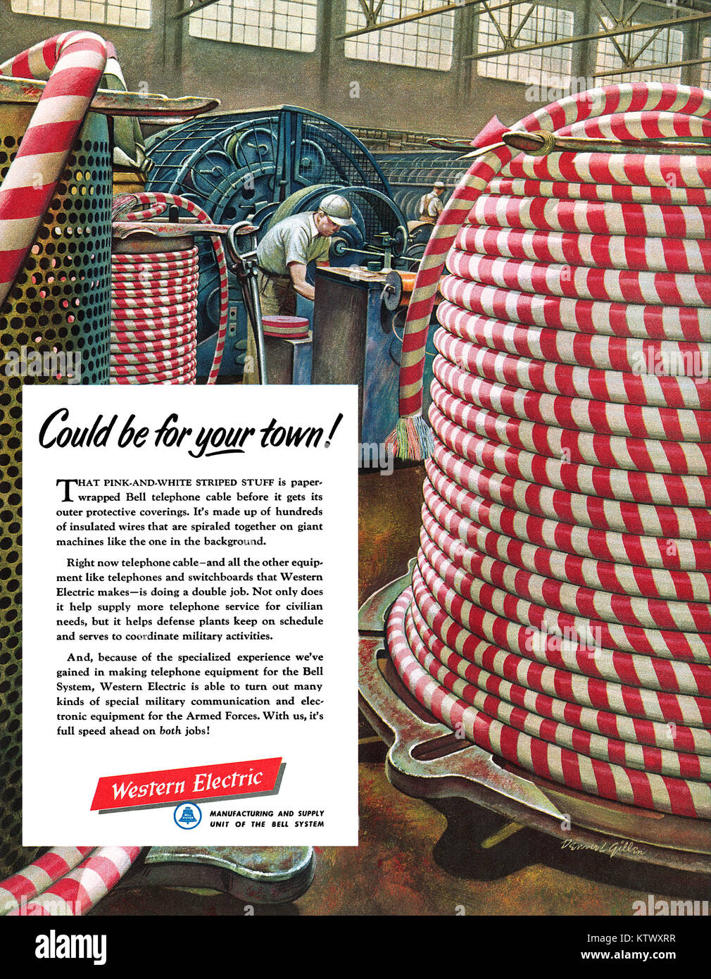 1952 U.S. advertisement for Western Electric. - Stock Image