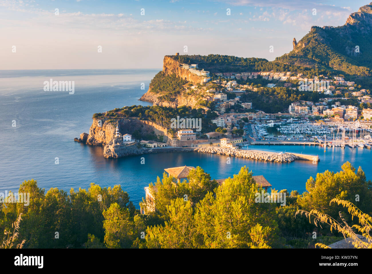 High Angle View on Port de Soller, Mallorca, Balearic Islands, Spain at Sunset - Stock Image