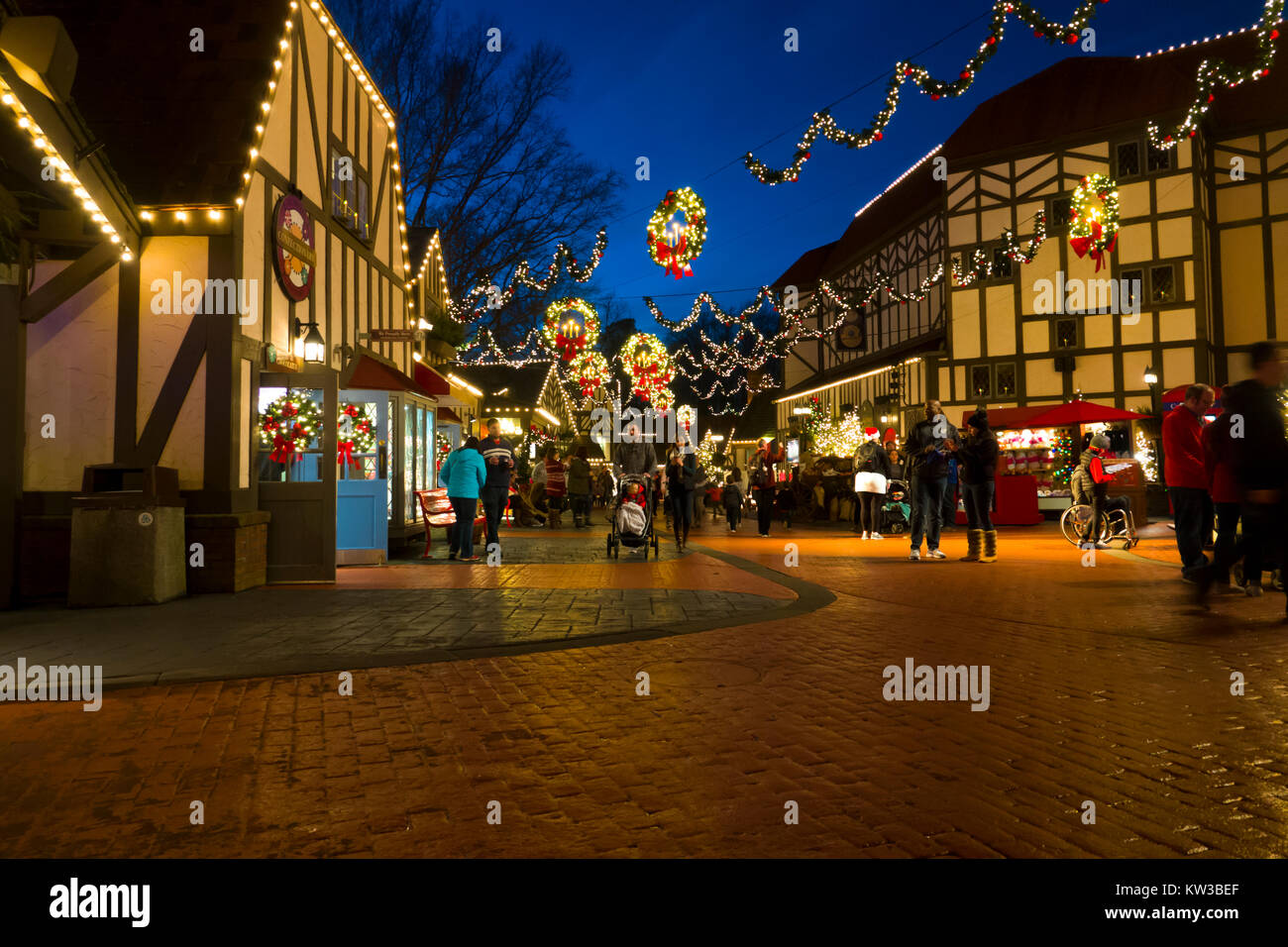 USA Virginia VA Williamsburg Christmas holiday at Busch Gardens theme park Stock Photo