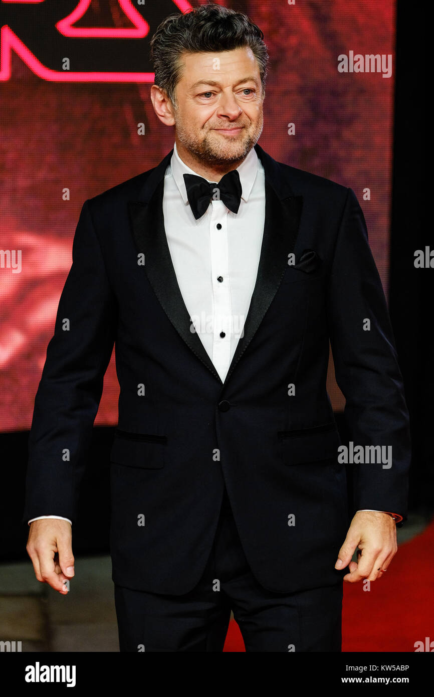 Andy Serkis attends the European Premiere of Star Wars - The Last Jedi at The Royal Albert Hall on Tuesday December - Stock Image