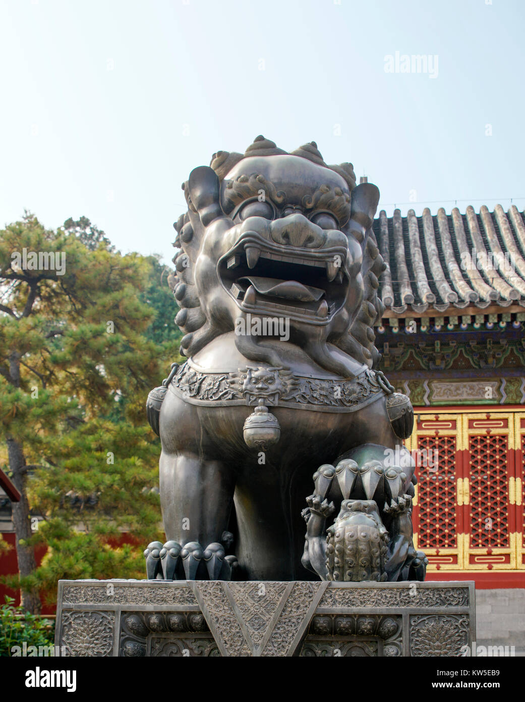 Statue of a Bronze Lion at Summer Palace, Beijing, China - Stock Image