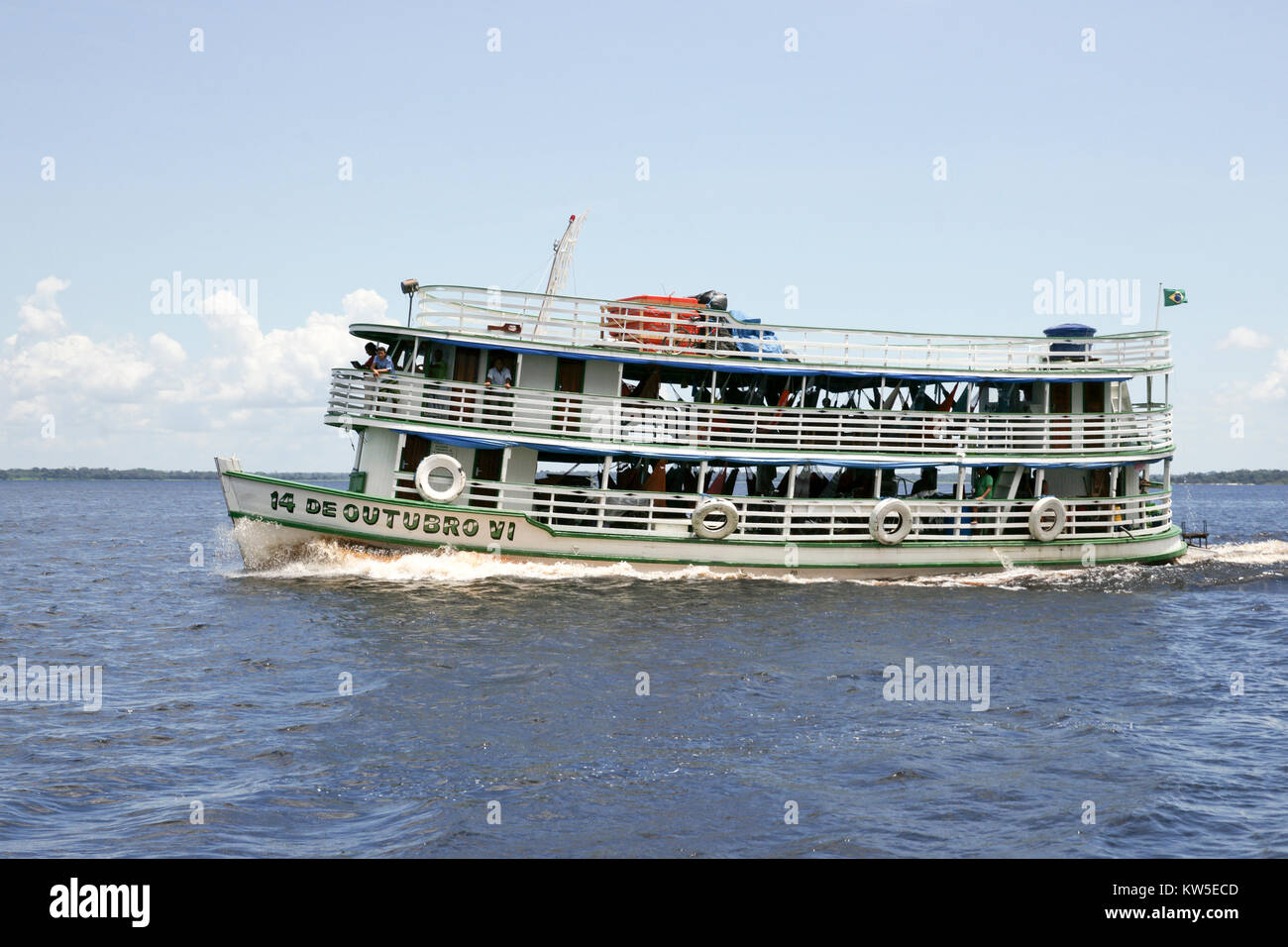 One of the  riverboats on the Amazon used mostly for local transportation. Near Manaus, Brazil. South America - Stock Image