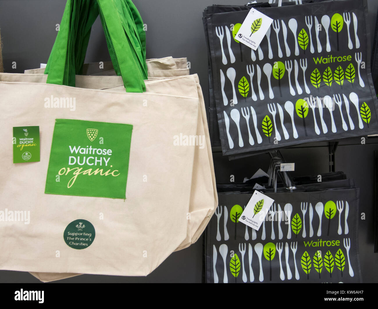 Environmentally friendly recyclable Shopping Bags in a Waitrose Supermarket - Stock Image