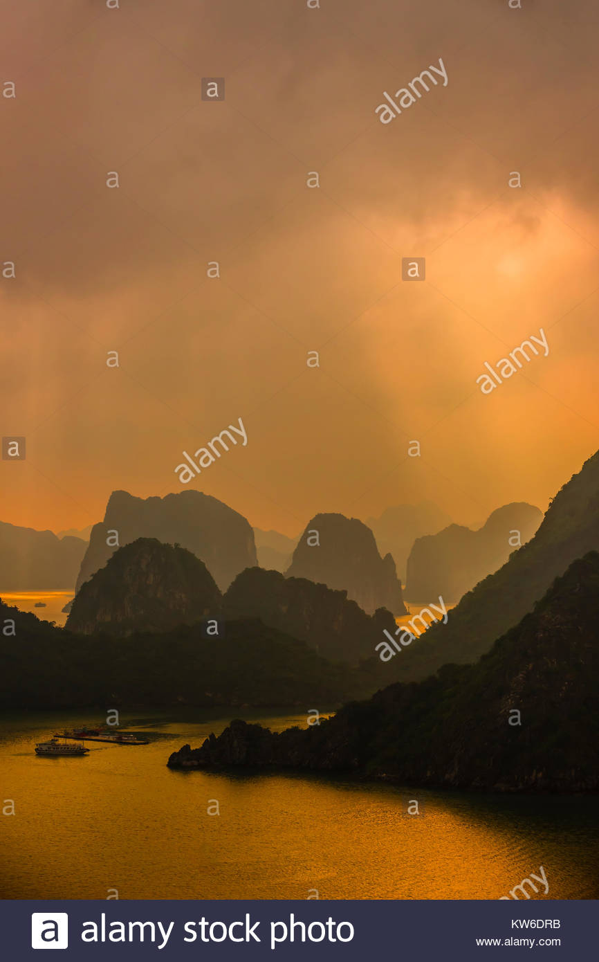 High angle view of Halong Bay from Ti Top Island, North Vietnam. The bay features 3,000  limestone and dolomite - Stock Image