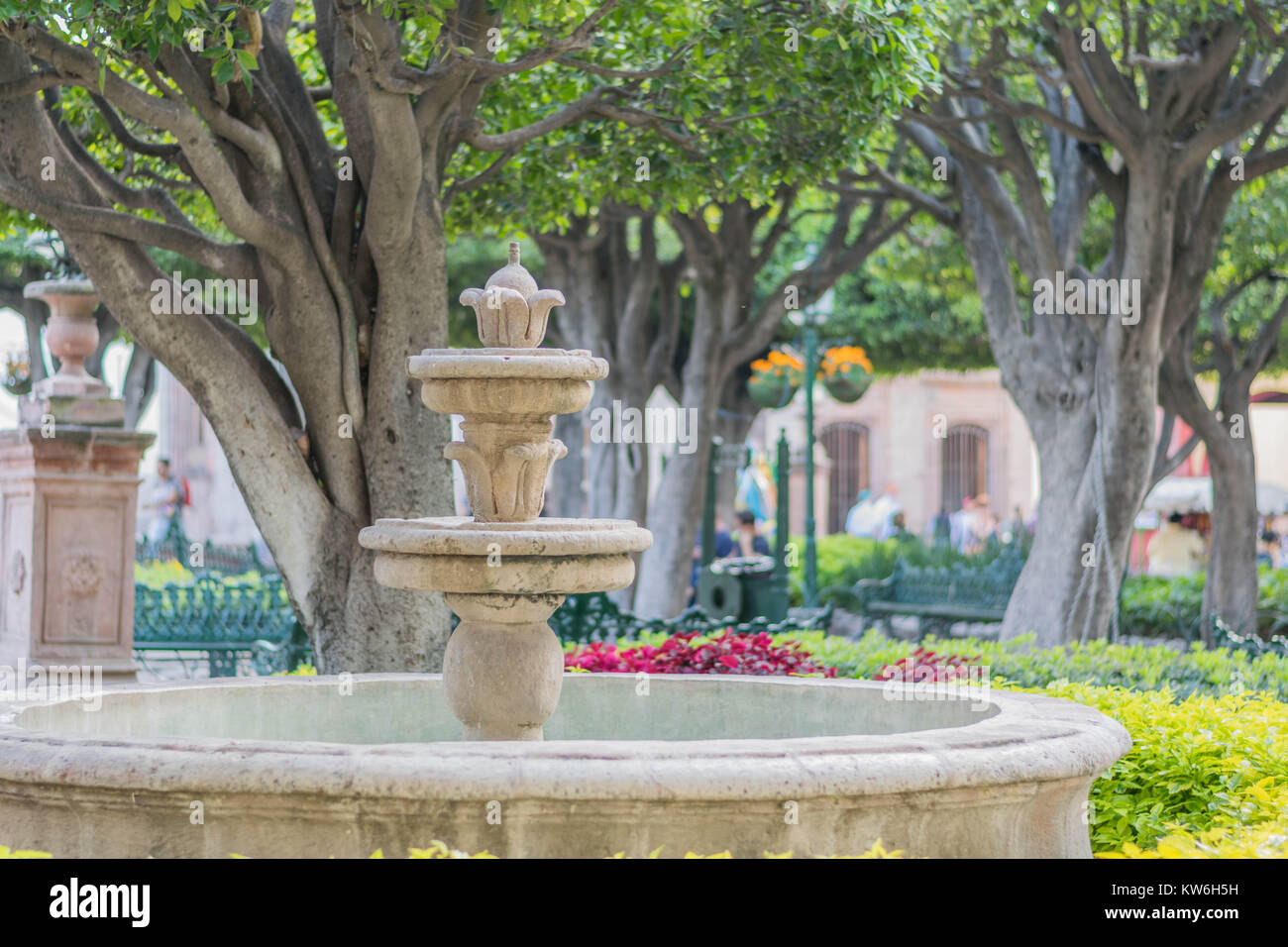 An old stone fountain and beautiful old trees, with park benches and hanging flower pots, in El Jardin-the center - Stock Image