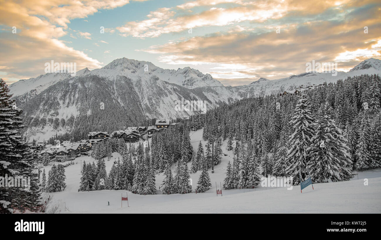 A landscape view over Courchevel 1850 ski resort in the alps of France part of the 3 Valley ski area in the French - Stock Image