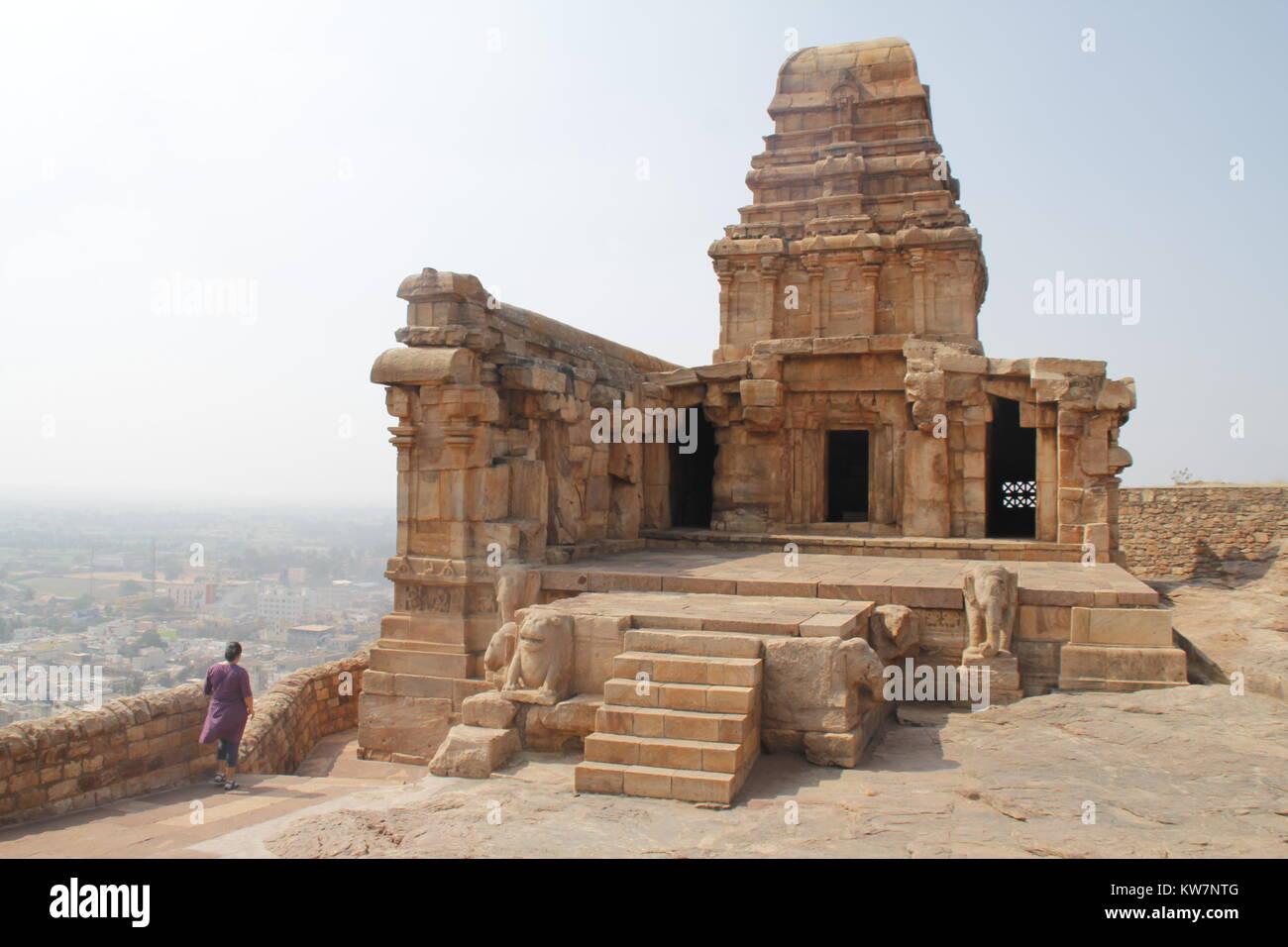 View of and from badami caves, karnataka, India - Stock Image