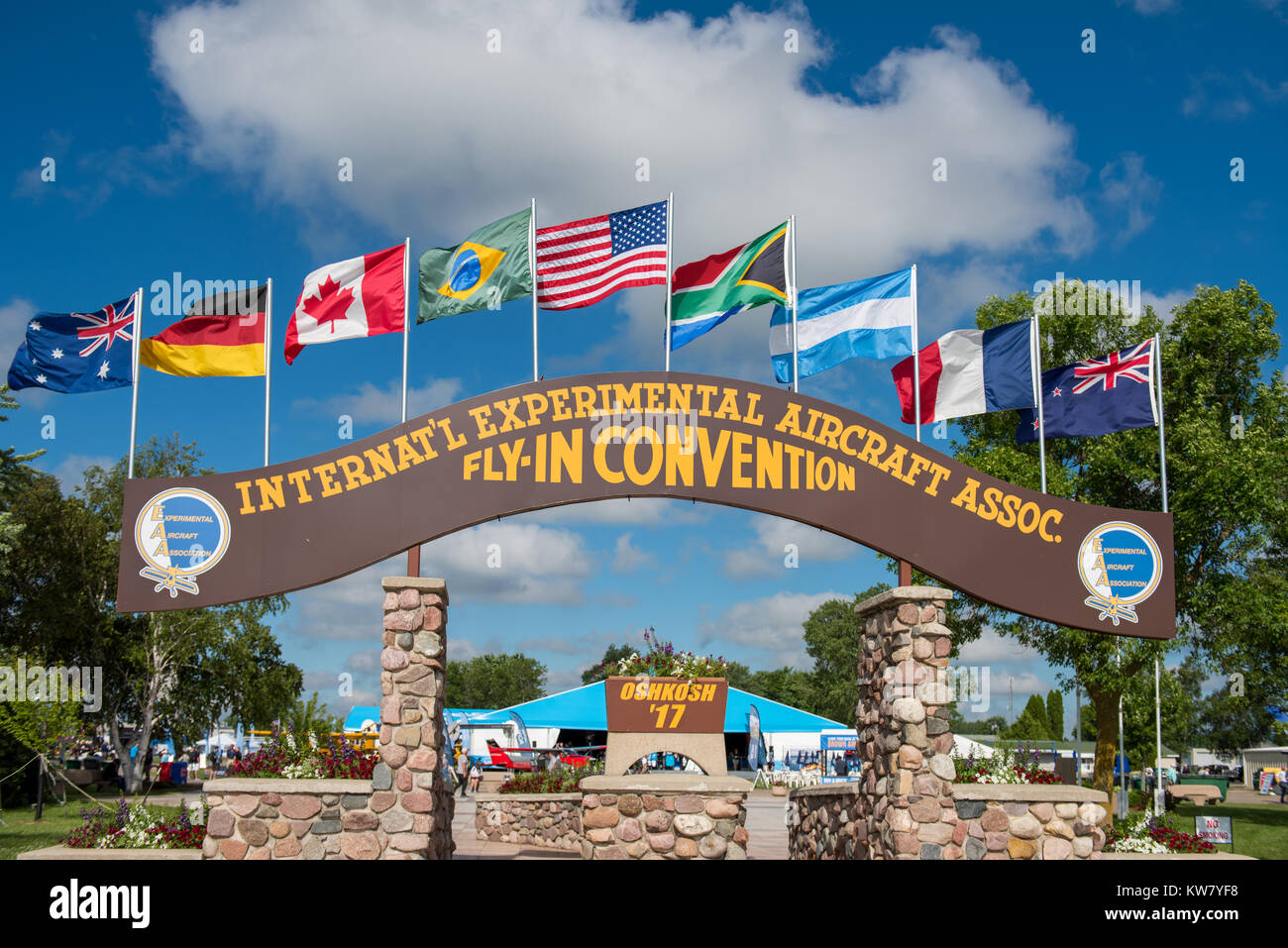 Oshkosh, WI - 24 July 2017:  Sign at the EAA airshow for the annual international, experimental aircrat association - Stock Image