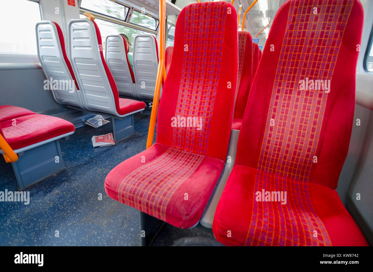 Empty seats South West Trains interior, south London, UK - Stock Image