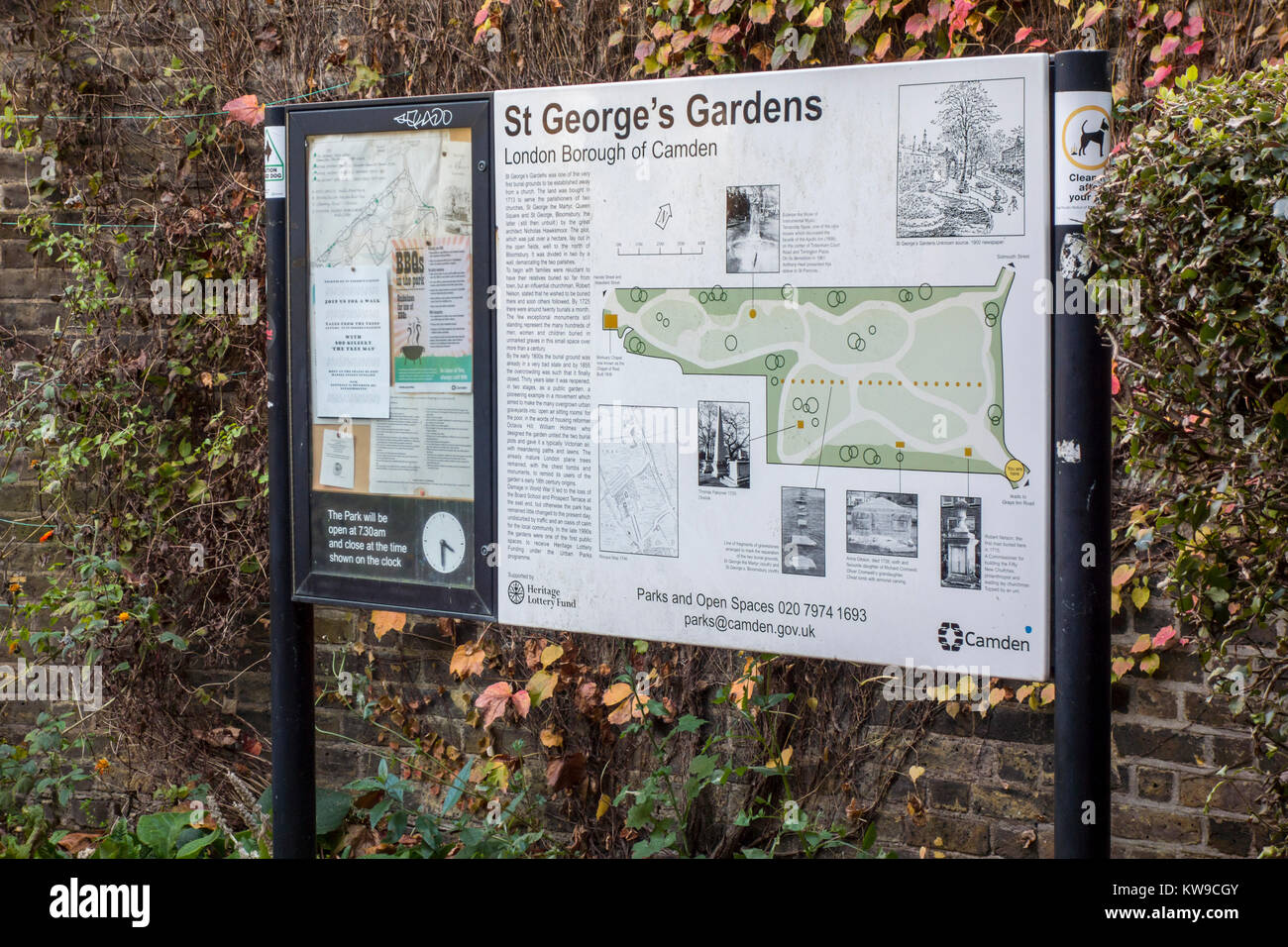 St George's Gardens, Bloomsbury, London, UK. 18th century burial ground now public gardens with old tombs and - Stock Image