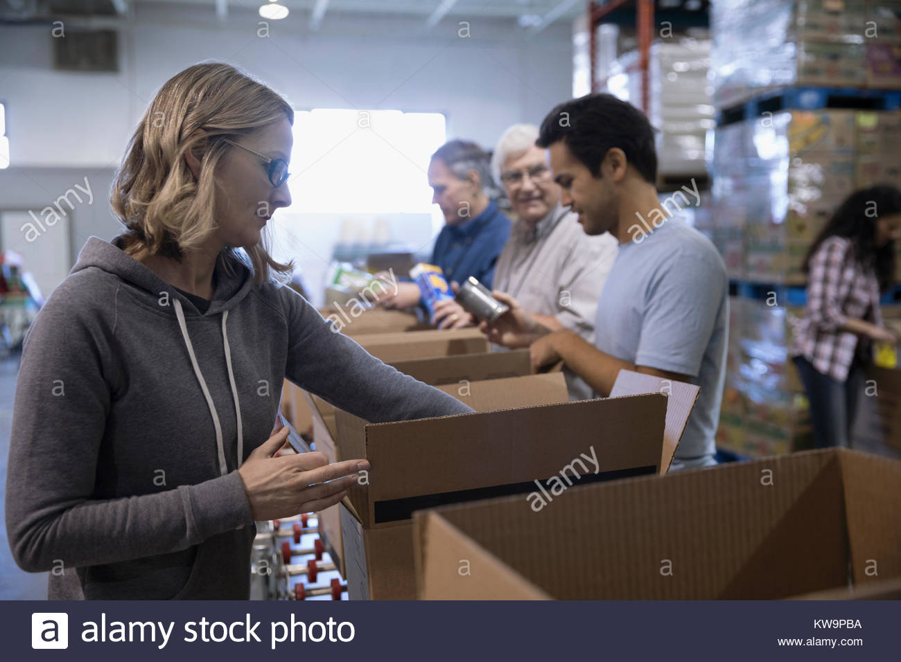 Female volunteer boxing canned food for food drive in warehouse - Stock Image