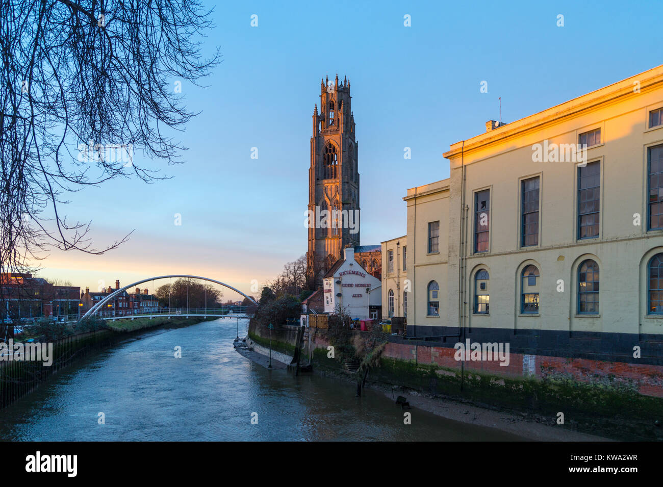 'Boston Stump', St. Botolph's church, Boston, on the Haven, River Witham, Lincolnshire, England, Assembly Rooms Stock Photo