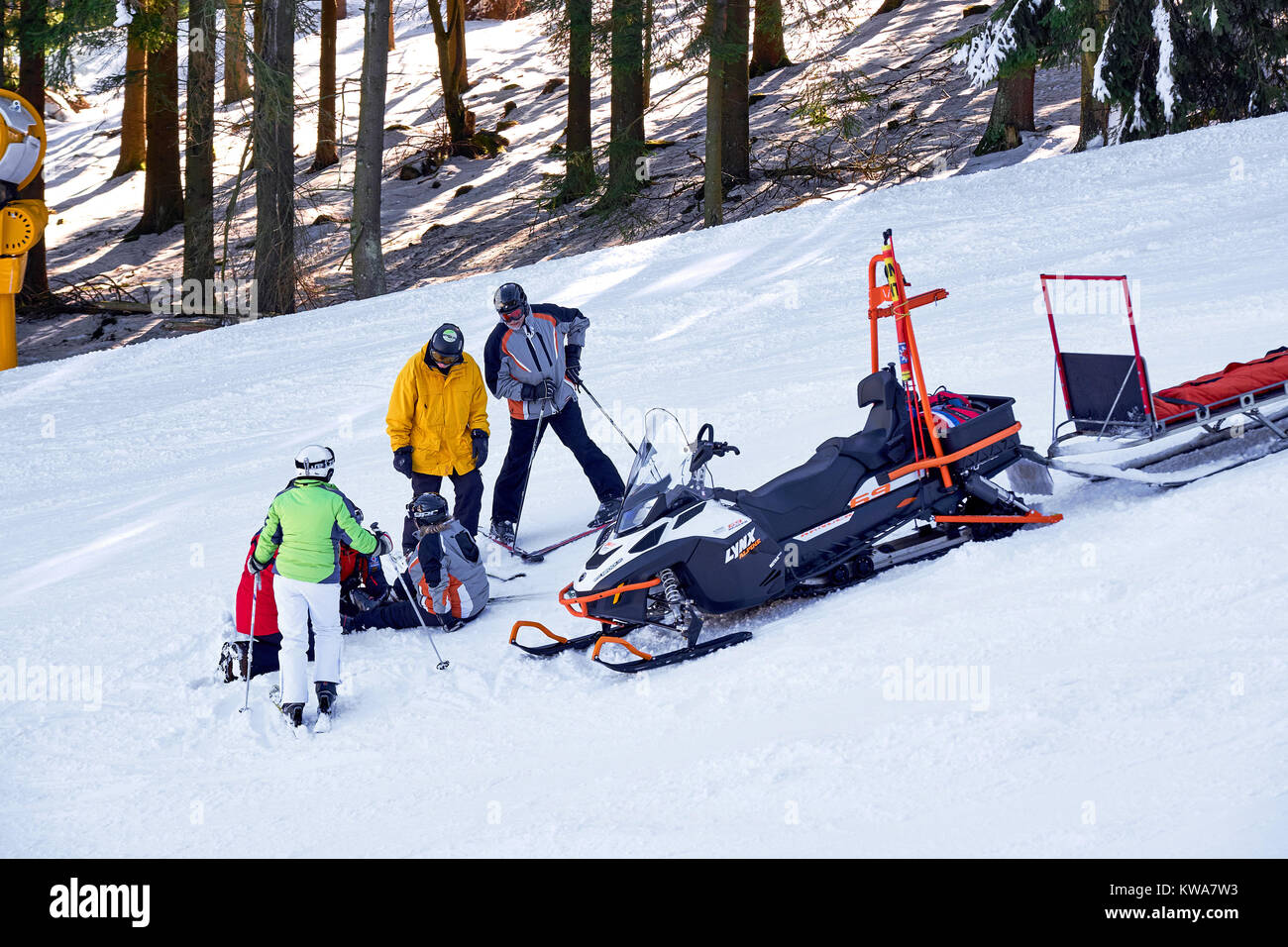 WINTERBERG, GERMANY - FEBRUARY 15, 2017: Rescue snowmobile at a accident scene on a ski piste - Stock Image