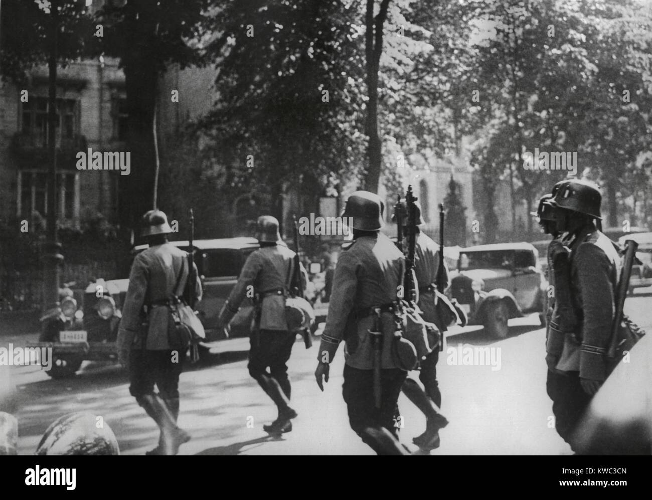 German Army patrol in Berlin during the Nazi Party purge of the Sturmabteilung (SA) leadership. June 30-July 2, - Stock Image