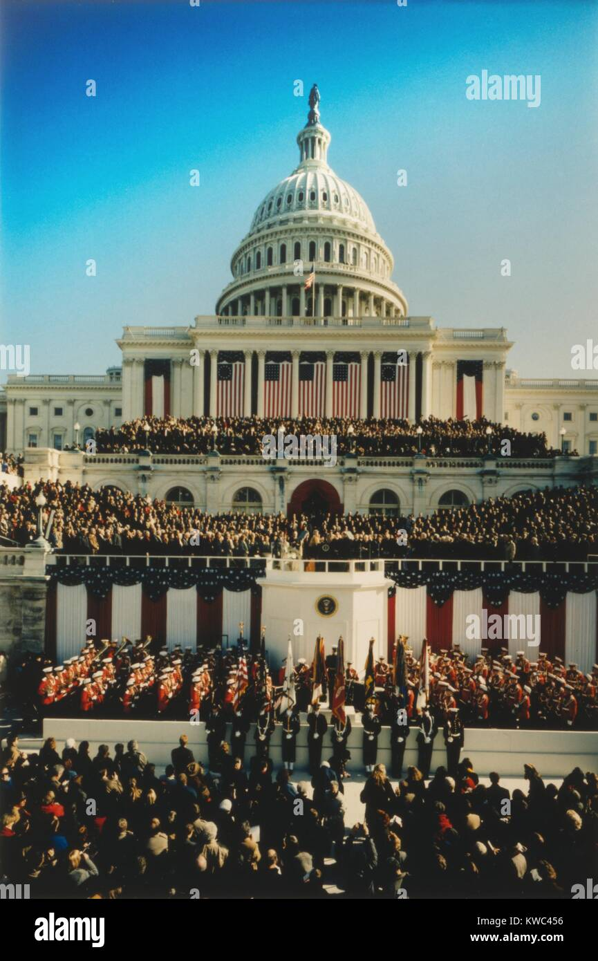 U.S. Capitol West Front during the Inauguration of President William Clinton. Jan. 20, 1993. (BSLOC_2015_14_80) - Stock Image