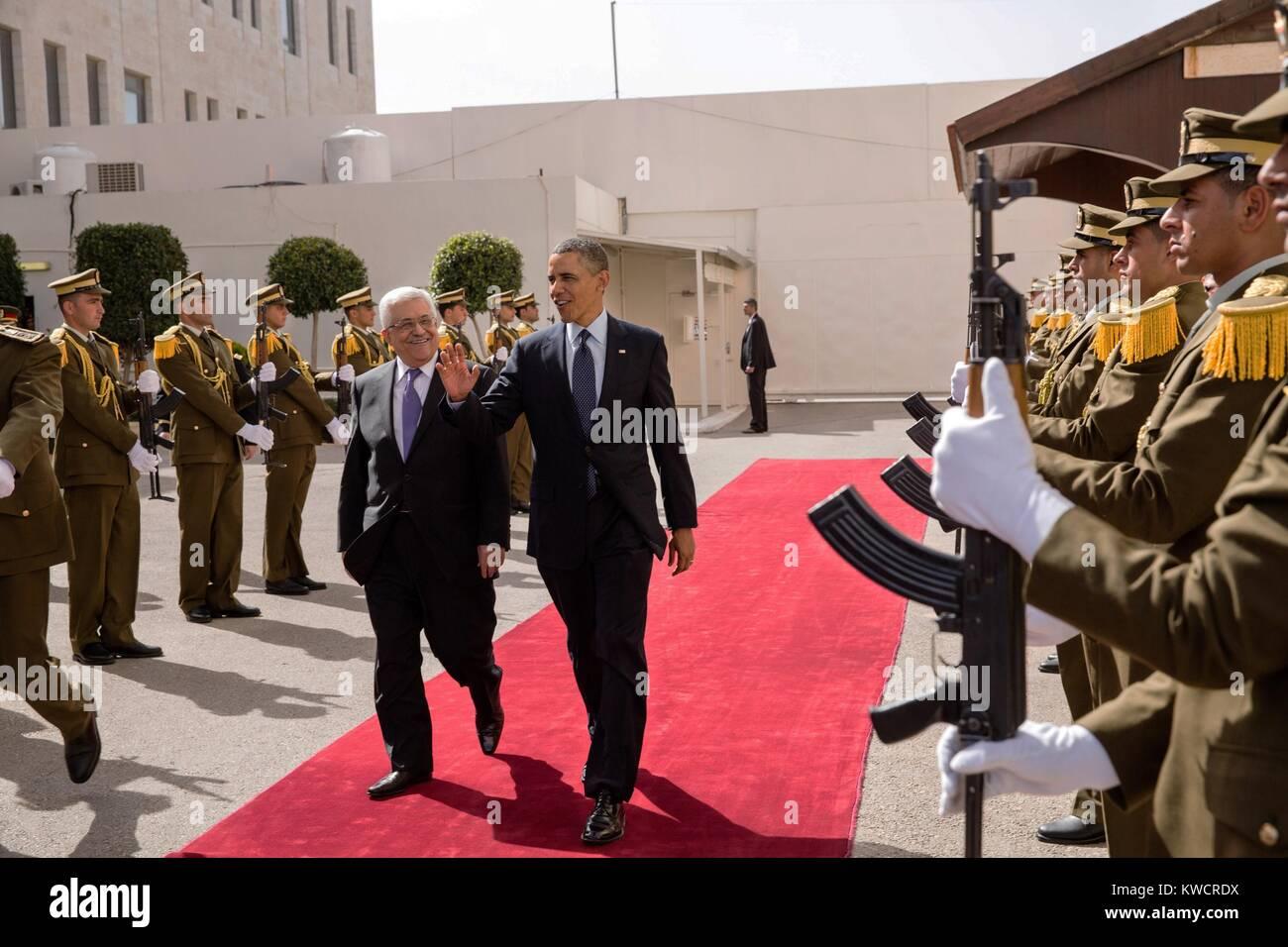President Barack Obama walks with President Mahmoud Abbas of the Palestinian Authority. Ramallah, the West Bank, - Stock Image