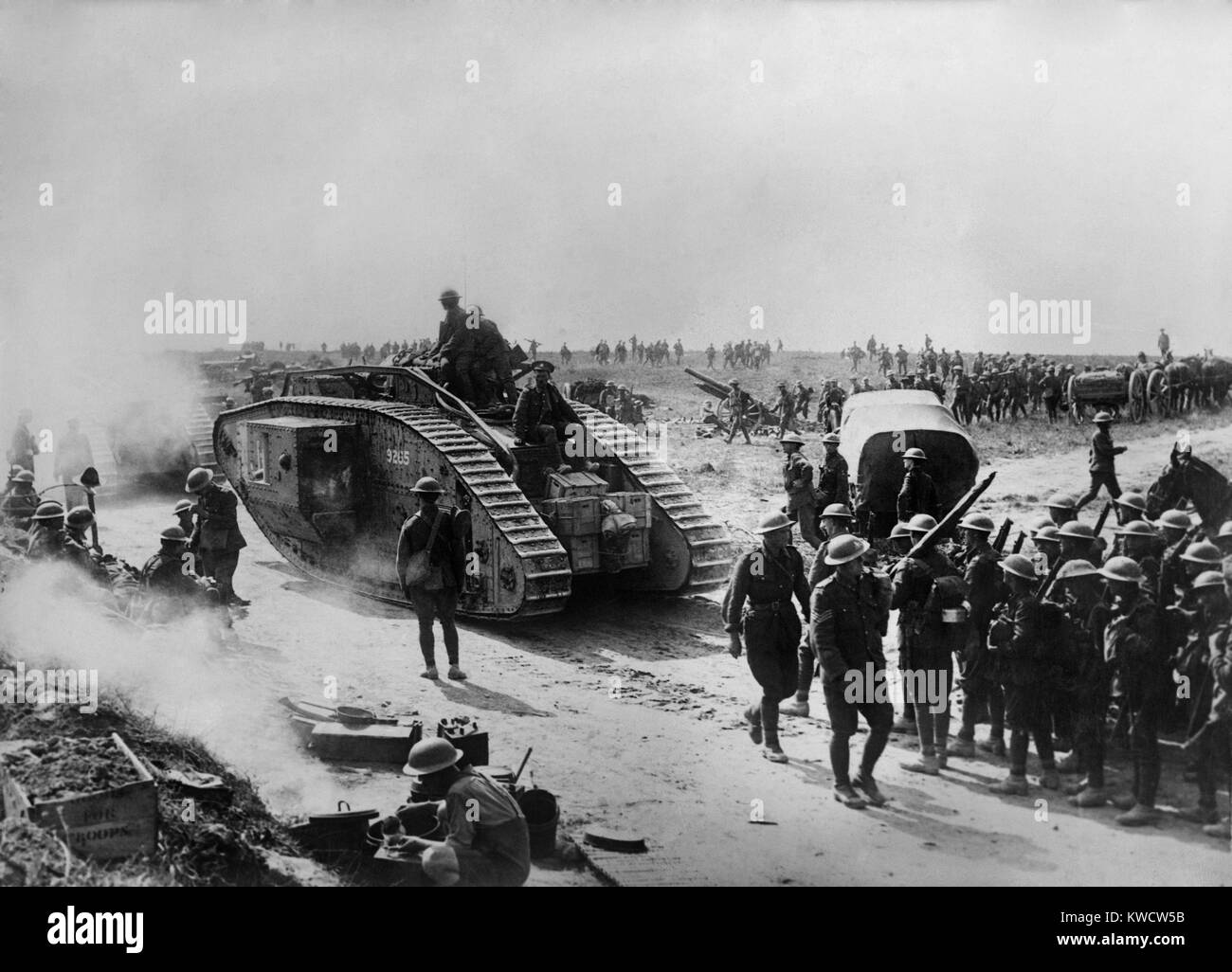 World War 1. British forces in Bapaume, France, site of a battle from August 21 through Sept. 3, 1918. Building - Stock Image